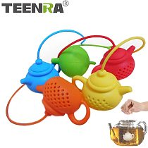 TEENRA Teapot Shape Tea Infuser Strainer Silicone Tea Bag Herbal Filter Leaf Diffuser Teapot Accessories Kitchen Tools