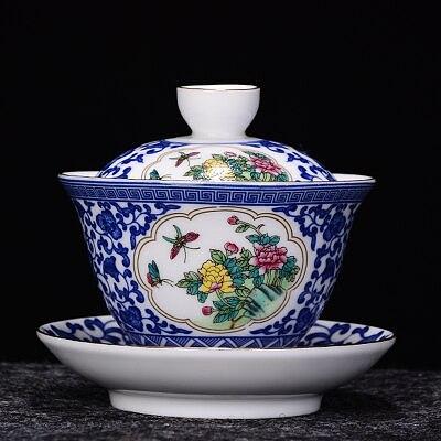 Jingdezhen Ceramic Tea Tureen Blue and White Porcelain Bowl Chinese KungFu Gaiwan Full Color Tea Bowl Tea Accessories