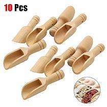 10PCS Mini Wooden Spoon Scoop Kitchen Wood Round Handle Salt Shovel Spoons Coffee Tea Leaf Sugar Scoop Kitchen Accessories D10