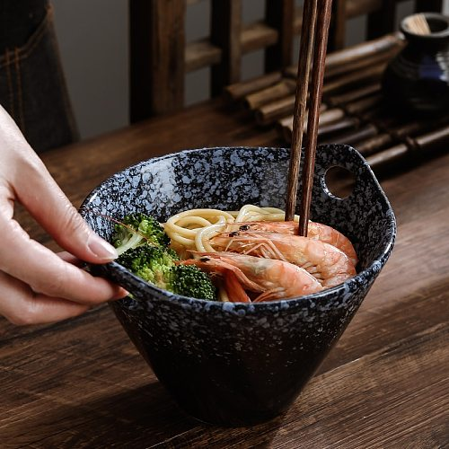 The new Japanese kiln turned double ear noodle bowl creative salad bowl