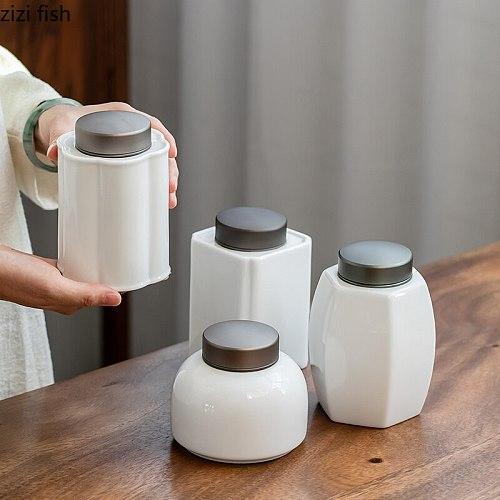 Ceramic Tea Caddy White Tea Jar Metal Cover Storage Tank Sealed Jar Tea Box Decorative Jars Snack Box Tea Tins Organize Boxes