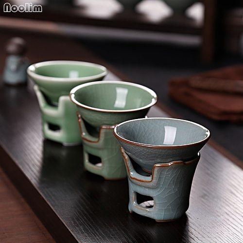NOOLIM Creative Celadon Tea Strainer Ceramic Kung Fu Leak Tea Ceremony Accessories Filter Teahouse Desktop Ornaments
