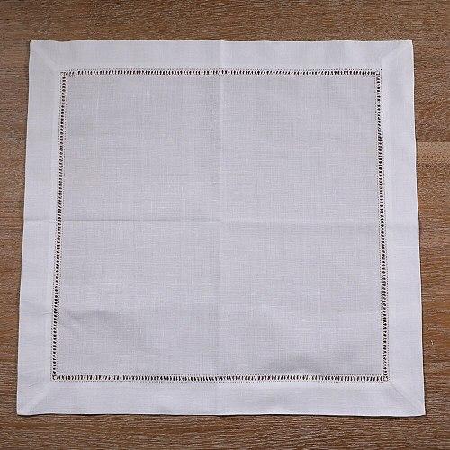 N018: 12 Pieces White Hemstitch Dinner Table Napkins Ramie Cotton Blend 17  x 17  Ladder Hemstitch Cloth Dinner  mokador