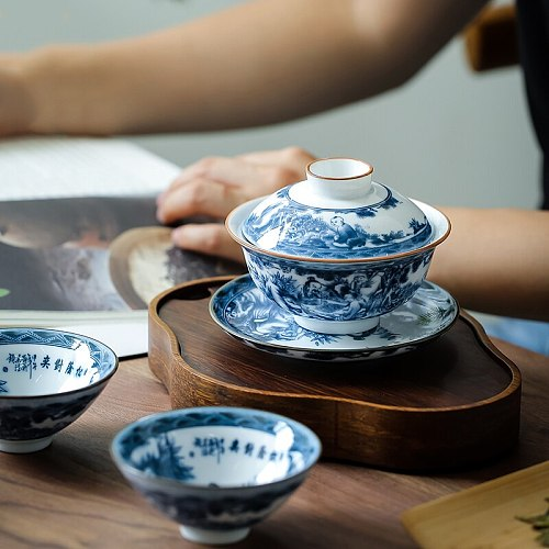 CHANSHOVA 150ml 3-piece set Chinese style Tea Tureen Hand Painted Ceramic tea cup set Blue and white porcelain Tea bowl G188