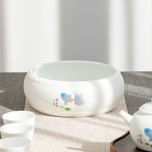 Ceramic Tea Basin Large Writing-Brush Washer Extra Large Tea Basin Washed Tea Bowl Kung Fu Tea Set Tea Ceremony Accessories