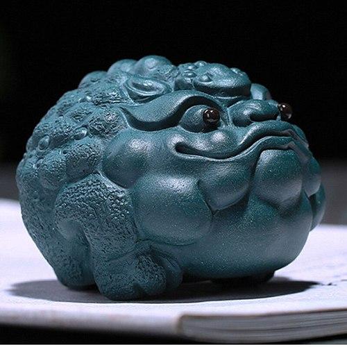 Green Mud Mascot Statues Zi Sha Tea Ceremony Ornaments Purple Clay Lovely Toad Tea Pet Tabletop Handcrafts