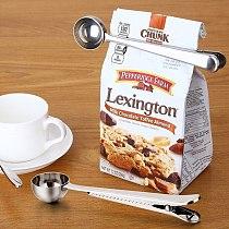 Multifunction Kitchen Supplies Coffee Scoop Clip Stainless Milk Powder Food packaging Seal Clip Tea Spoon Measuring Cup Spoon