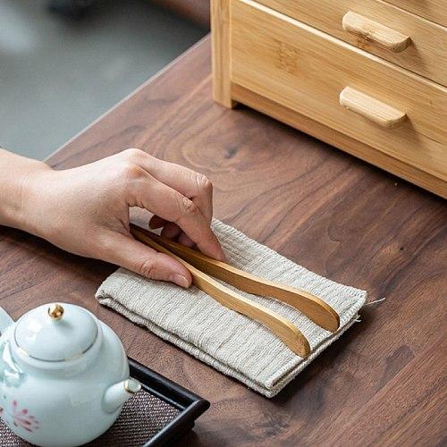 Bamboo Tea Tweezer Bacon Tea Clip Tongs Bamboo Salad Food Toast Bend Clip Straight Clips Kitchen Accessories Teaware