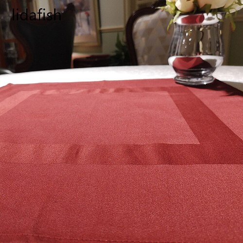 lidafish 4pcs/set Polyester Table Napkins Red/Black Restaurant Dinner Wedding Banquet Home Decor Supplies And Party Decoration
