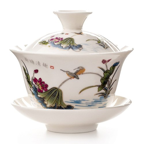 Ceramic Tea Tureen Hand Painted Blue & White Porcelain Gaiwan Drinkware Chinese Tea Bowl Set Covered Bowl With Lid Cup Teaware