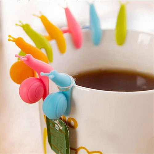 6pcs Colorful Silicone Small Snail Recognizer Device Tea Infuser Cup Tea Bag Hanging Clip Label Cooking Tools Color Random
