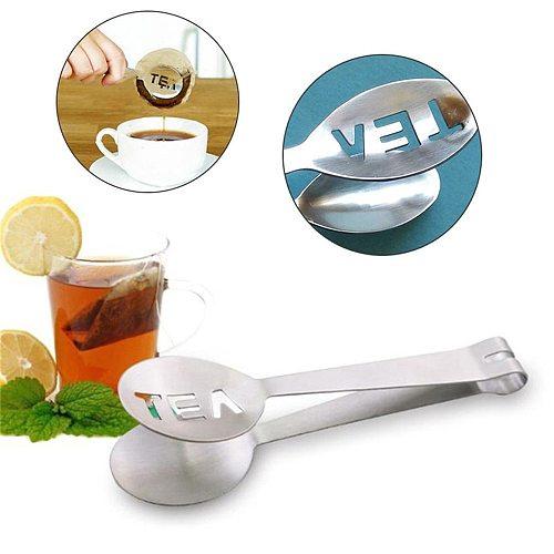 Stainless Steel Tea Bag Clip Tongs Teabag Squeezer Strainer Holder Grip Spoon Mini Sugar Clip Tea Leaf Strainer Anti-hot Clamp