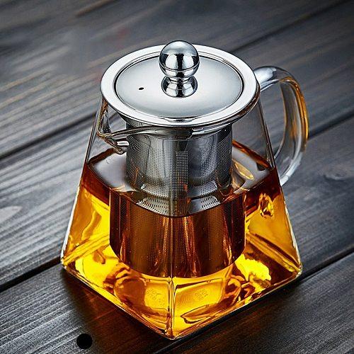 350/550/750/950ML Square Flower Tea Pot with Filter Screen Heat Resistant Borosilicate Glass Pot Teapot Teacup Combination Suit