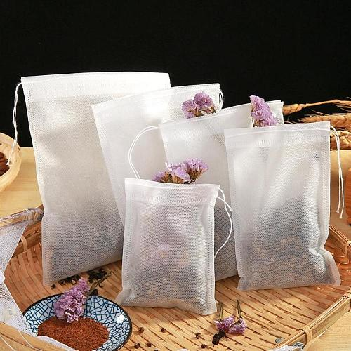 50/100pcs Non-Woven Drawstring Tea Bag Seal Filter Pouch Tool Herb Spice Supply Tea Bags With String Heal Seal Filter Paper