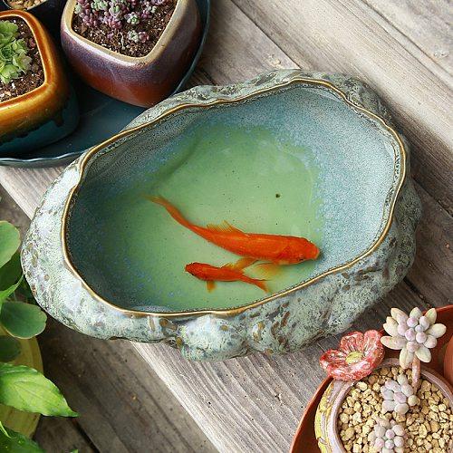 Creative Retro Large Turtle Fish Tank Copper Money Grass Bowl Lotus Water Lily Non-porous Flower Pot Multi-function Tea Wash