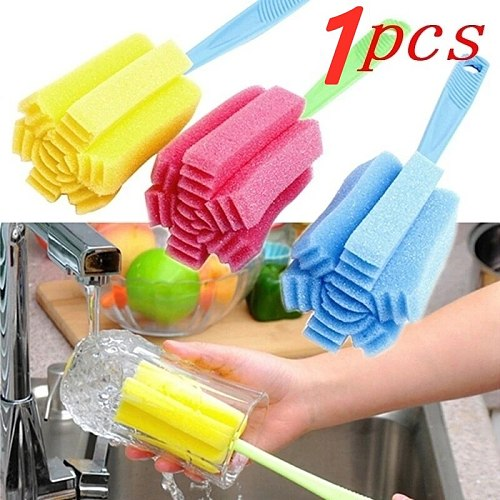 1 Piece Of Reusable Kitchen Wine Glass Coffee Tea Glass Cleaning Sponge Long Handle Cup Cleaning Brush Household Cleaning Tool