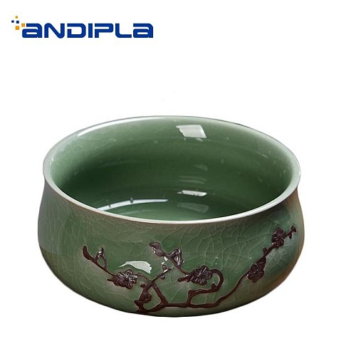 Vintage Tea Wash Bowl Ceramic Fish Tank Chinese Kung Fu Tea Set Accessories Gardening Flower Pot Potted Plant Bonsai Decoration