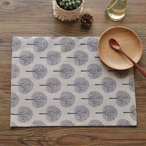 New Cotton and linen napkin tea towel small tree pattern double placemat 40*30cm aesthetic elements(just tea towel) SN3763