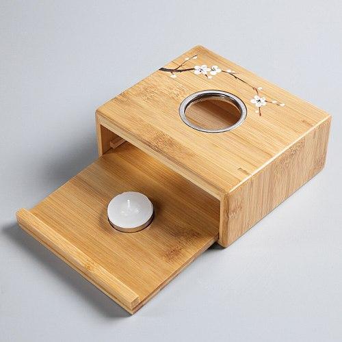 1pc Multi-Purpose Teapot Warmer Bamboo Iron Tea Heater Base Tea Fire Stoves Candle Holder Aromatherapy Furnace