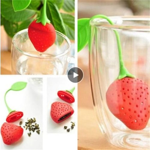 1pc Tea Strainers Silicone Strawberry Tea Leaf Infusers Loose Herbal Spice Infuser Filter Diffuser Creative Bar Tools Teaware