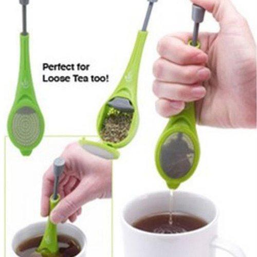 Healthy Food Grade Tea Infuser Tea Strainer Built-in plunger Reusable Tea bag Plastic Tea&Coffee Strainer Measure Stir&Press
