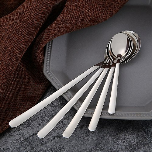 1PC Silver Spoon Fork Different Sizes Stainless Steel Long Handle Coffee Ice Cream Dessert Drinking Tea Scoop Kitchen Flatware
