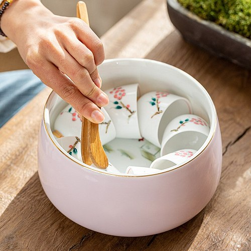 Hand-Painted Large Tea Basin Kung Fu Tea Set Household Tea Cup Container Ceramic Tea Bowl Tea Ceremony Zero with Tea wash
