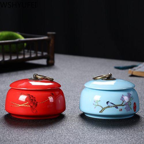 WSHYUFEI Ceramic sealed Tea jar Chinese travel Tea Caddy Kitchen Storage Spice dried fruit jar Tea Boxes Candy storage tank