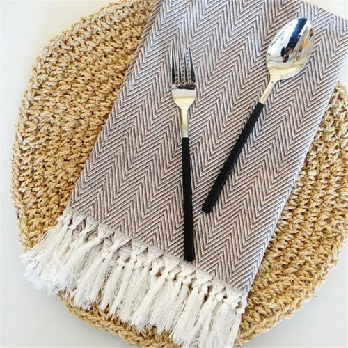 Hand-made Tassel Napkin Cotton Yarn Dyed Dish Towel Cleaning Cloth Multi Tea Towel Dishtowel Kitchen Towel