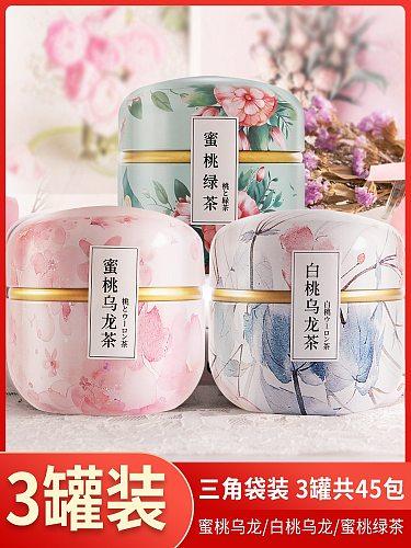 [3 cans] Peach White Peach Oolong Tea Bags Green Tea Scented Tea Combination Health Tea Cold Brewing Tea Bags Fruit Tea Bags