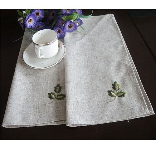 10 pcs Napkin Cloth Linen Leaves Tablecloth Embroidery Handkerchief 40x40cm Restaurant Home Use European Style