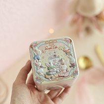 2Pc New Square Mini 3D Cartoon Rabbit 7.5 x 7.5 x 6.5cm Flower Tea Pill Lipstick Tin Storage Box Wedding Party Candy Gift Box