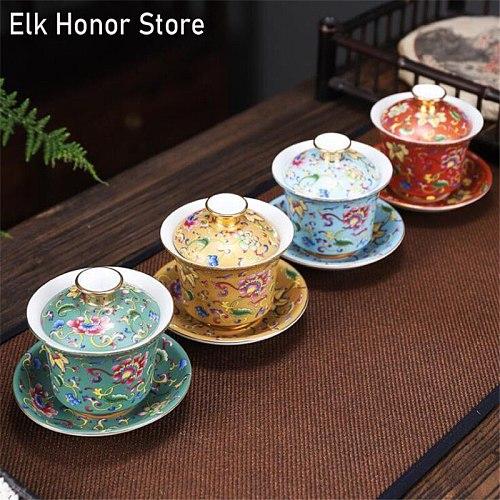 160ml Gaiwan Porcelain Enamel Color Hand Painted Ceramic Tea Tureen Teaware for Puer Pu'er Tea Bowl Cup Saucer Lid Set Drinkware
