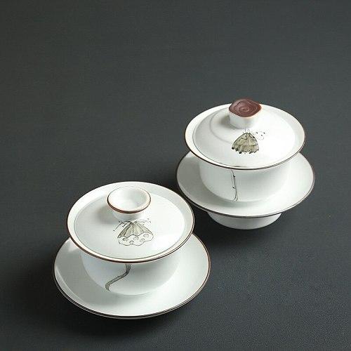 High Quality Hand Painted Lotus Ceramic Porcelain Gaiwan Chinese Kung Fu Tea Set Teaware Tureen Sancai Tea Cup Pu'er Kettle