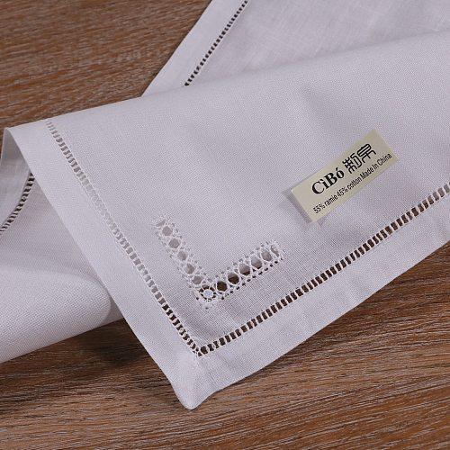 N063 White 120PCS 55% Ramie 45% Cotton 10  x 10  / 12  x 12  Drawn Thread Work Ladder Hemstitch Small Size Table Napkins