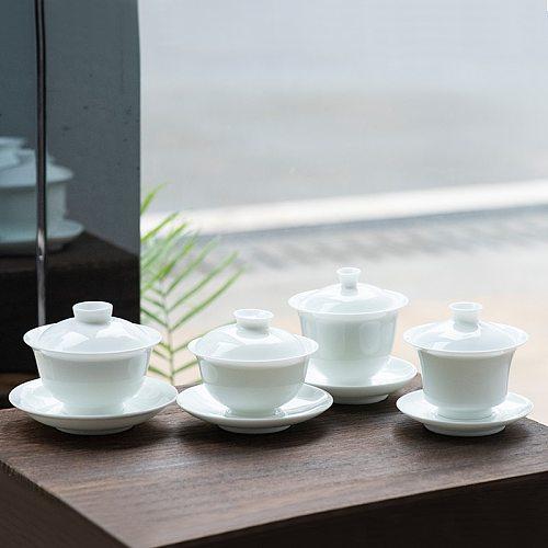 White Porcelain Tea Bowl Ceramic Gaiwan Jingdezhen Beautiful Teaware Drinkware Master Cup Handmade Tea Tureen Decoration Crafts