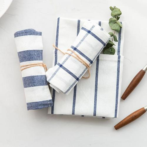 5 10pcs high quality Blue white check striped tea towel kitchen towel napkin table cloth 100% cotton fabric free shipping