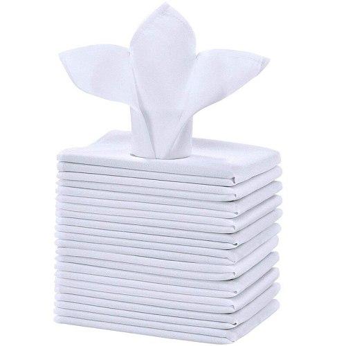 12Pcs Cotton Restaurant Dinner Cloth Satin White 50X50cm High-End Hotel Napkin