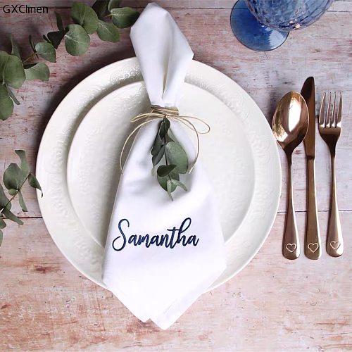 50pcs Personalized Napkin Monogrammed Dinner Wedding Washable Embroidered Napkins Embriodery Font Napkin