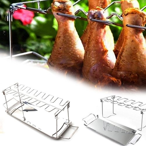 Chicken Wing Leg Rack For Grill Smoker Oven Stainless Steel Vertical Roaster Stand In BBQ Safe Barbecue Accessories Grill