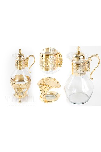 Gold Embroidered Bottom Isıtıcılı Gold And Silver Fondue Pot Urn Gold Turkish Tea Arab Ottoman Exotic East Tea Sets