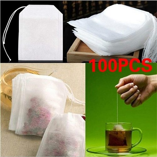 100Pcs/Lot Empty Scented Tea Bags Drawstring Pouch Bag 5.5 x 7CM Seal Filter for Medcine Cook Herb Spice Loose Tea Bag