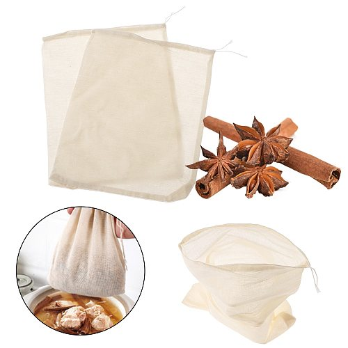 Cotton Cloth Bag Reusable Locking Spice Strainer Mesh Filter Chinese Medicine Herbal Ball Cooking Tools Colander Soup Tea Bag