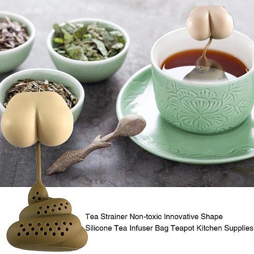 Creative Poo Turd Shaped Reusable Silicone Tea Infuser Tea Filter Diffuser Prank Trick Props Tea Bag Teapots Kitchen Accessories