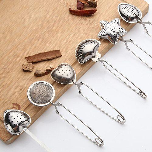 5Types Stainless Steel Tea Infuser Sphere Mesh Tea Strainer Tea Drip Handle Seasoning Hot Pot Ball Infuser Tea Filter Ball Bulk