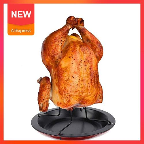 Turkey Roaster Chicken Roaster Rack With Bowl Carbon Steel Beer Can Chicken  BBQ Grill Rack Stand Holder Tray