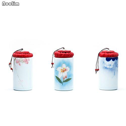 NOOLIM Ceramic Hand Painted Sealed Can Packaging Box Porcelain Tea Caddy Small Mini Portable Travel Storage Tank Spice Jar