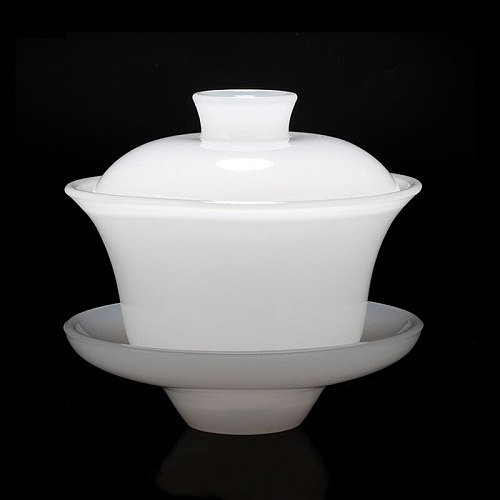 Ceramic Tea Bowl 160ml Jade Porcelain Tea Tureen China Kung Fu Tea Set Teaware Drinkware Handmade Gaiwan Master Cup Decoration