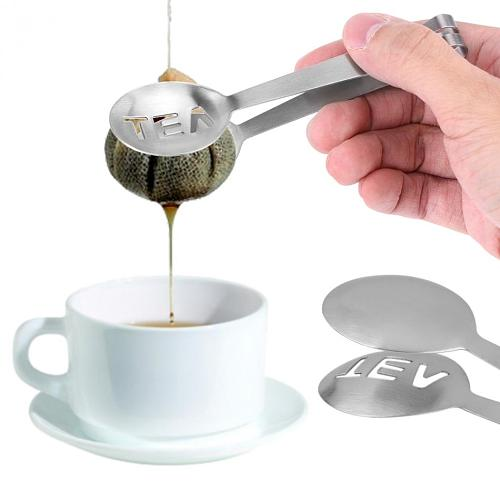 Stainless Steel Tea Clips Bag Tongs Squeezer Strainer Holder Grip Spoon Mini Sugar Tea Clip Strainer Kitchen Bar Tool