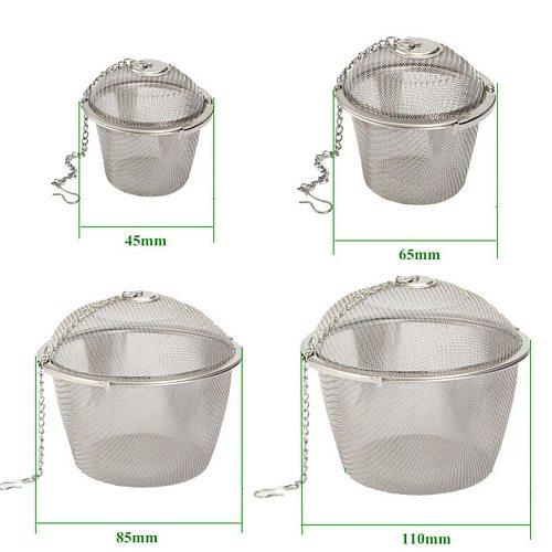45/65/85/110mm Silver Reusable Stainless Mesh Herbal Ball Tea Spice Strainer Teakettle Locking Tea Filter Infuser Spic